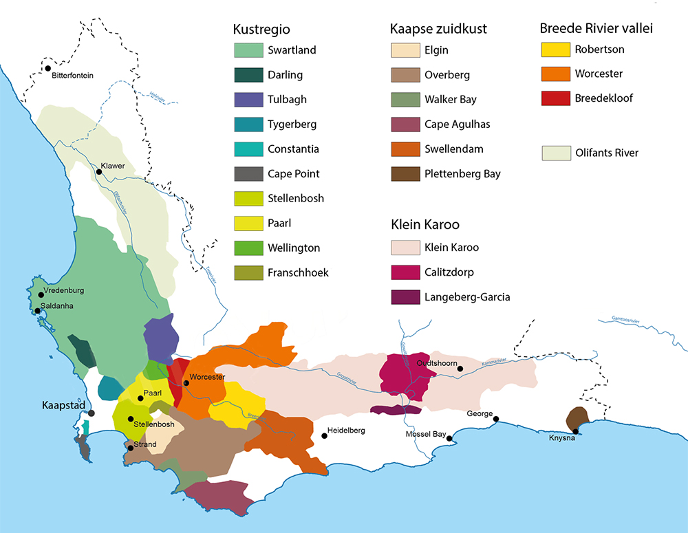 De Zuid Afrikaanse Wijngebieden Regio S Districten En Wards